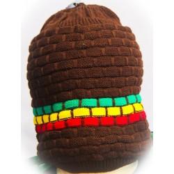 Bonnet marron motifs vert jaune rouge