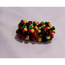 Bracelet avec petites et grandes  perles vert jaune rouge