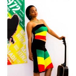 Mini-jupe/bustier court vert jaune rouge noir