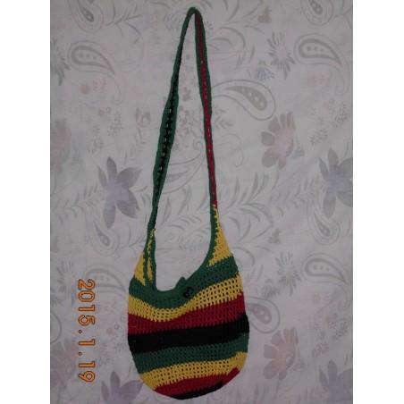 sac à main pour femmes en crochet vert jaune rouge