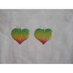 boucles d'oreilles rasta love en coeur