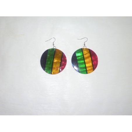 Boucle d'oreille rouge jaune vert noir