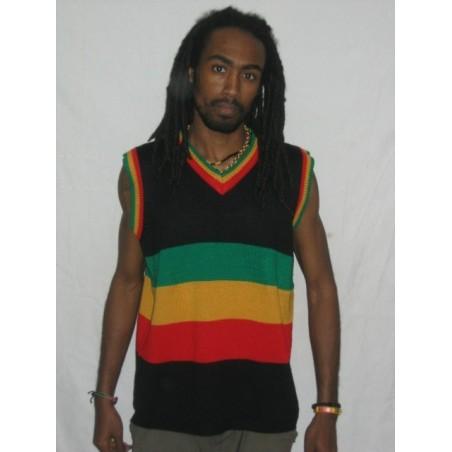 Débardeur noir à bandes vert jaune rouge