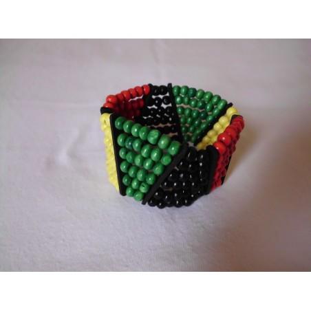 Bracelet noir avec lignes rastaman