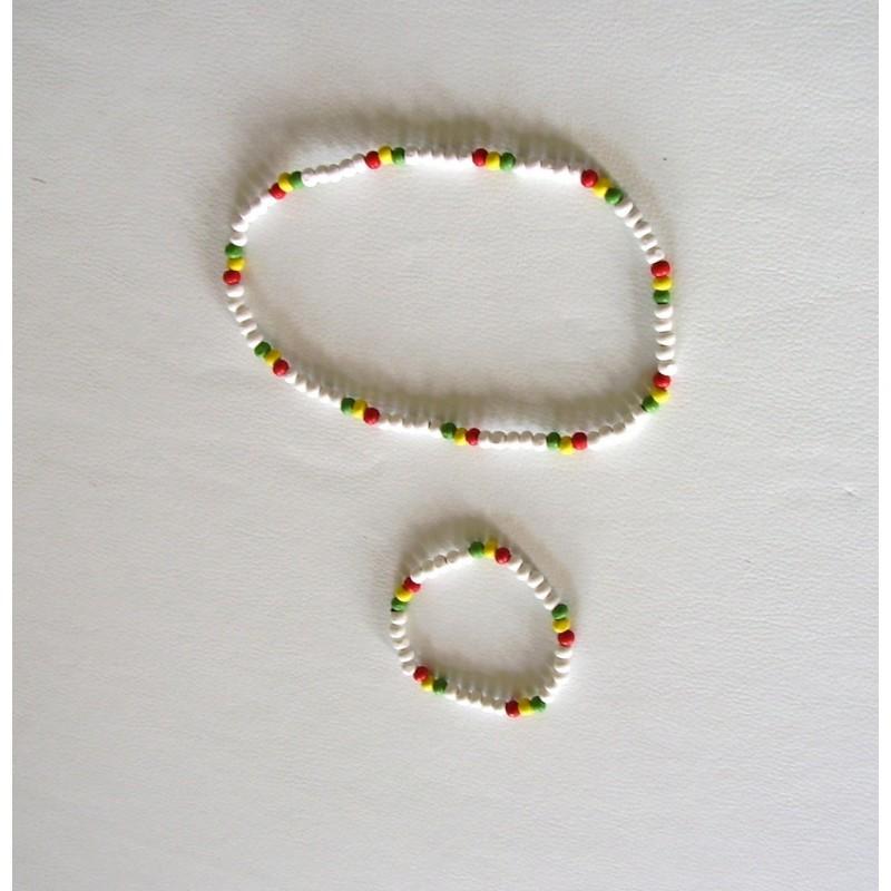 Ensemble collier bracelet perles blanches rouge jaune vert