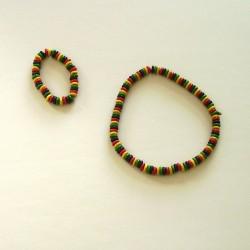 Ensemble collier bracelet rouges jaune vert grosses perles