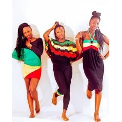 Bustier tricotés vert jaune rouge noir