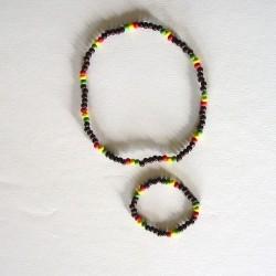 Ensemble collier bracelet petites perles noires rouges jaune vert rjv