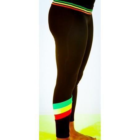 Leggins noir avec petites bandes vert jaune rouge