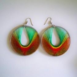Boucle d'oreille spirale Vert jaune rouge
