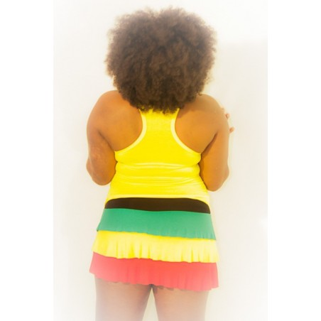 Mini jupe vert jaune rouge noir taille unique
