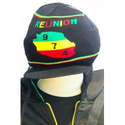 Bonnet noir ile de la réunion 974 vert jaune rouge